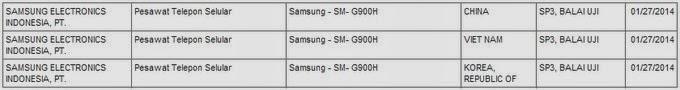 Samsung SM-G900H masuk postel Indonesia (Galaxy S5?)