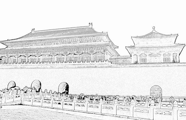 chinese architectural style sketch