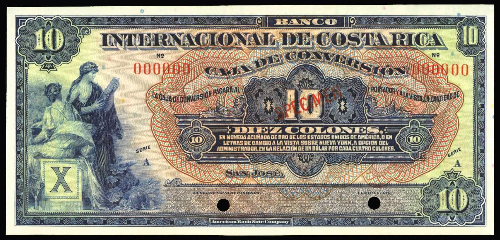 Costa rica 10 colones banknote 1924 banco internacional de for Banco internacional
