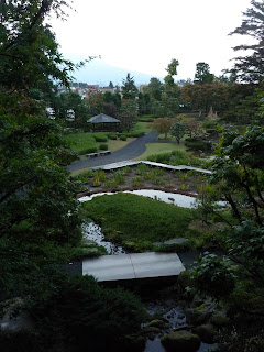 View of the Fujita Memorial Gardens from red bridge