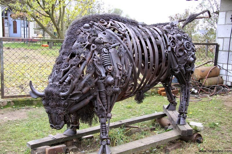 Simply Creative Car Part Bison Sculpture By Roman Beybutyan