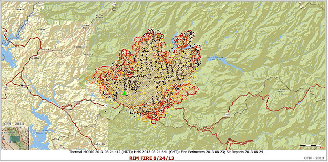 RIM FIRE PERIMETER AND HOT SPOT MAP 8-24-13 MORNING