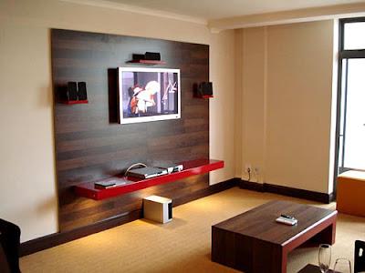 Sala moderna paredes madeira