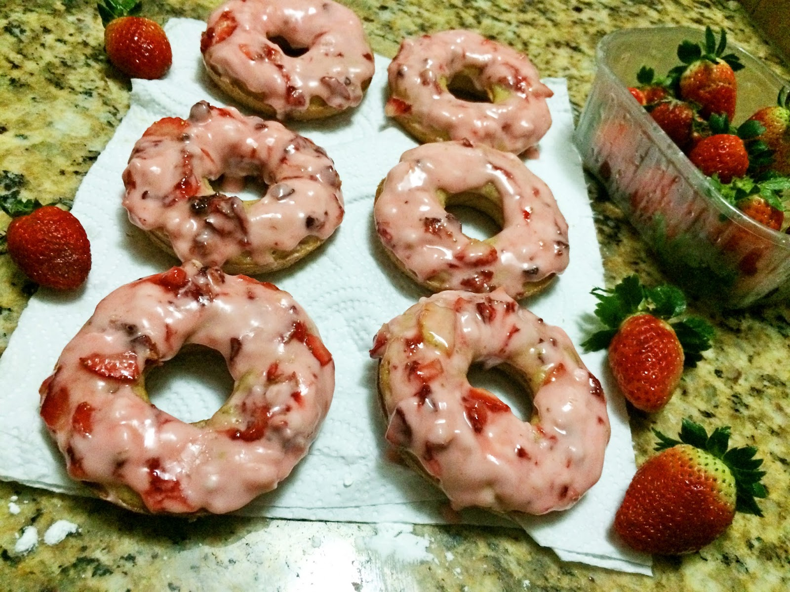 Homemade Strawberry Doughnuts