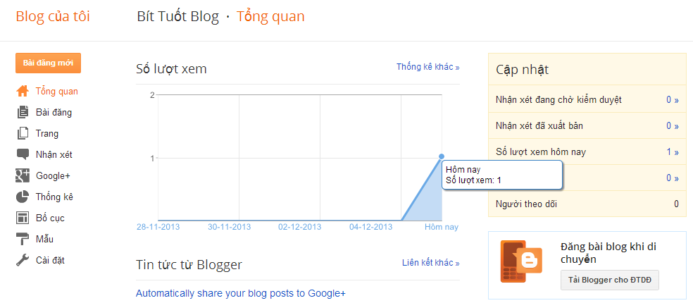 Hướng dẫn cách tạo blog bằng Blogspot của Google