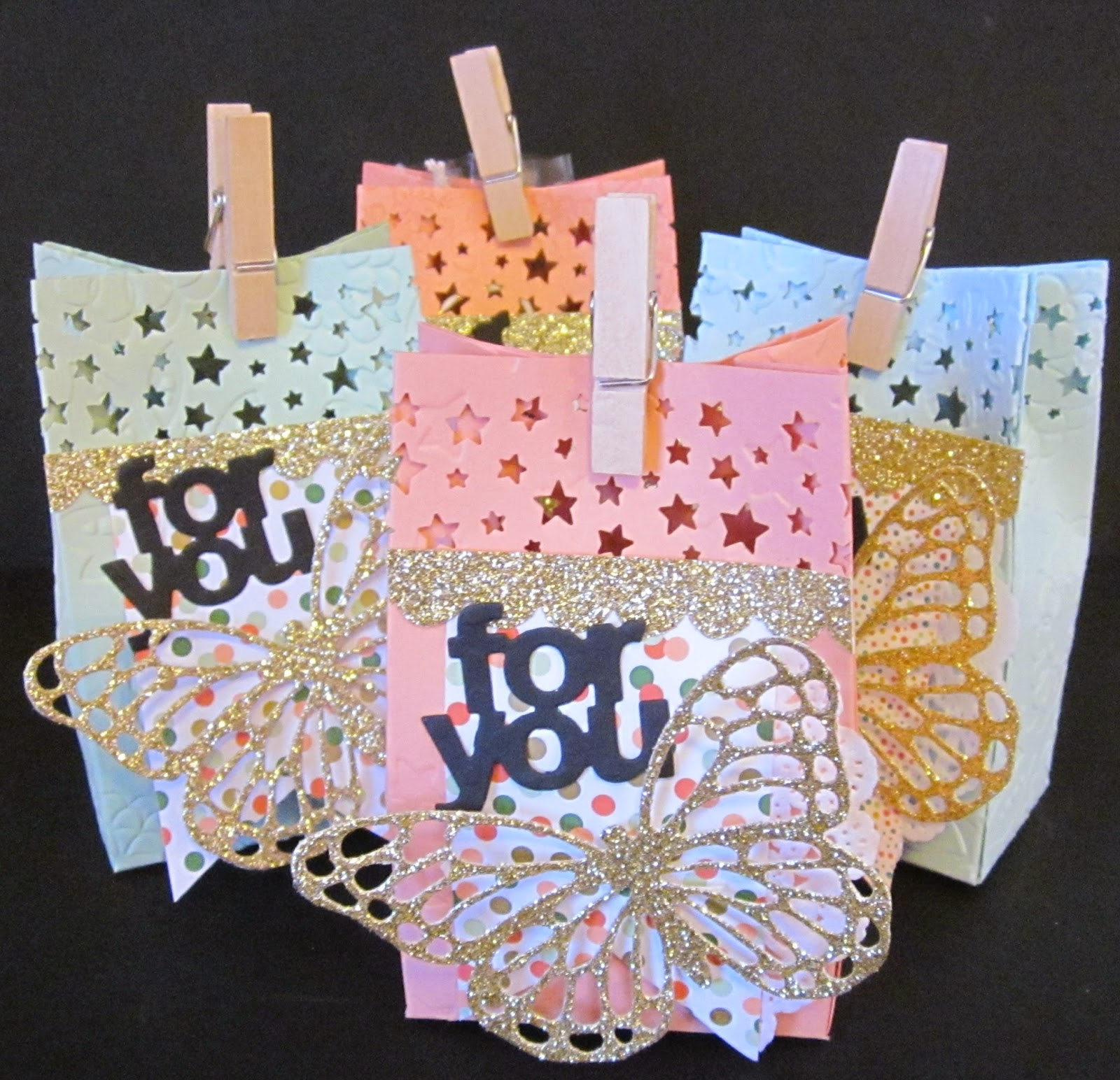 Stampin' Up! Treat bags Confetti Stars Border Punch Thinlit Dies, gold glimmer paper, hand made, cards, treats