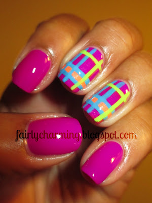 Color Club Mrs. Robinson, purple, plaid, bright, neon, nails nail art, nail design, mani
