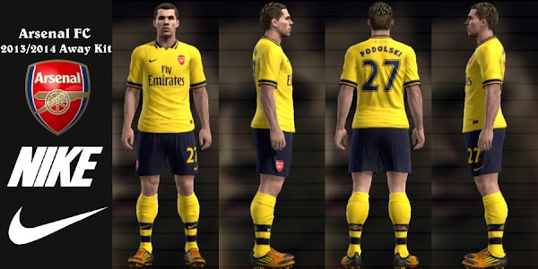PES 2013 Kit Away Arsenal FC 2013/14 by DarkNaples