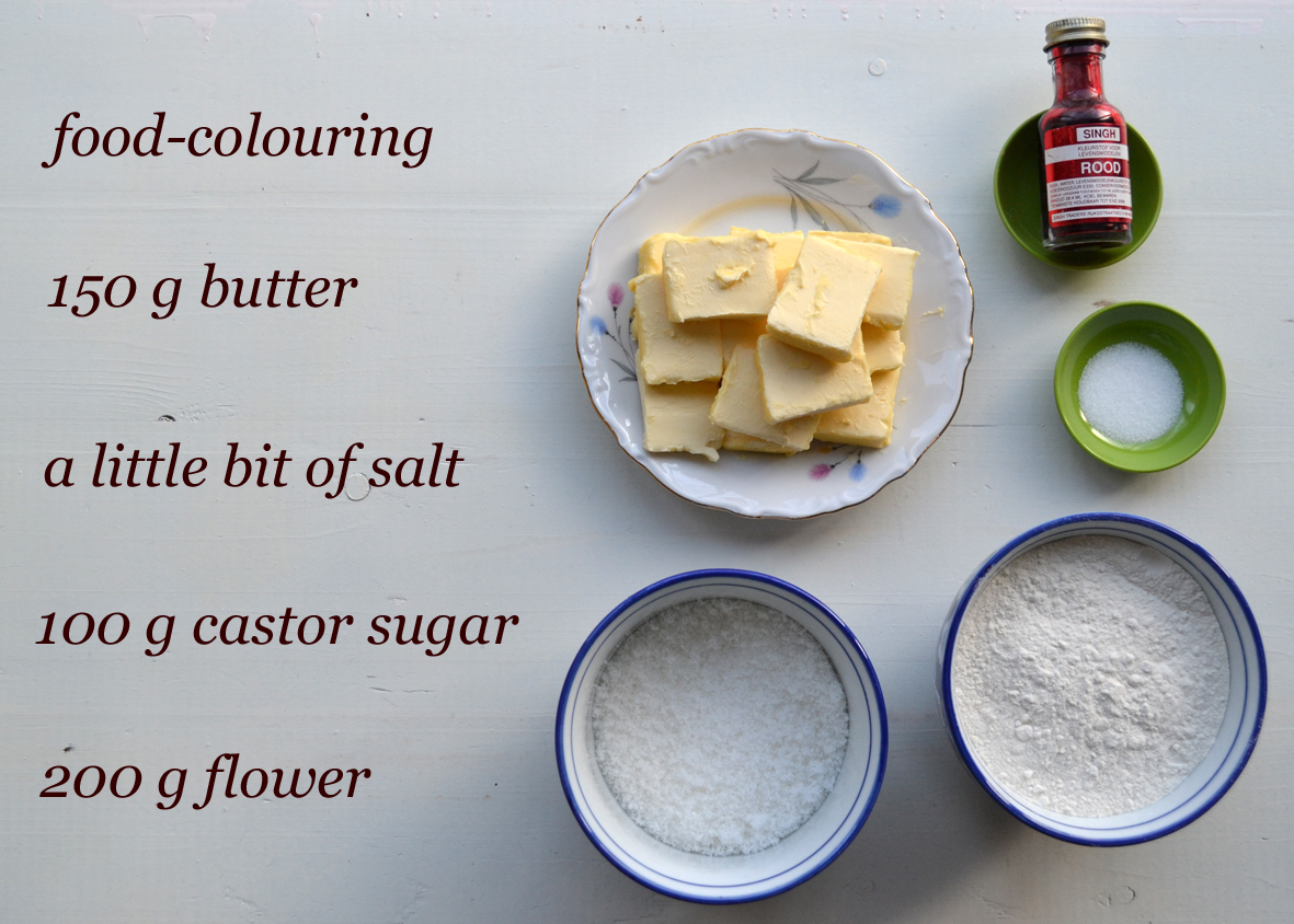 Coloured cookie dough recipe