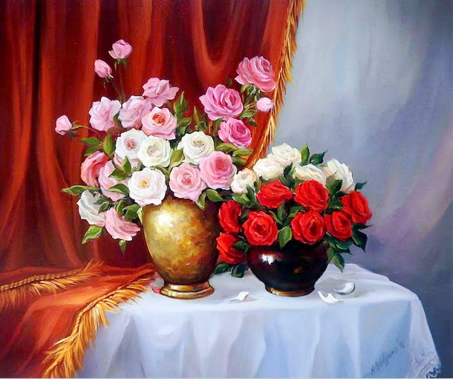 Im genes arte pinturas pintura al leo flores modernas - Fotos jarrones con flores ...