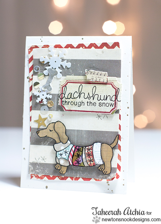 Dachshund Card by Taheerah Atchia for Newton's Nook Designs - Holiday Hounds Dog Stamp set