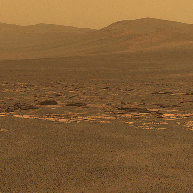 Mars Rover view of West Rim of Endeavour Crater on Mars