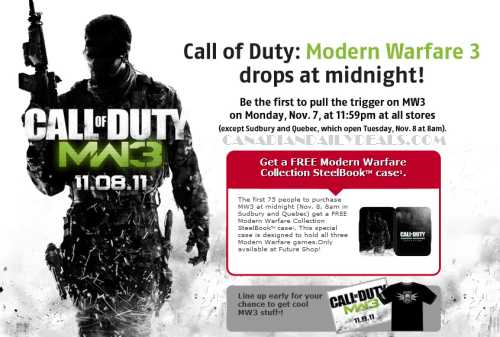 canadian daily deals future shop call of duty modern warfare 3 midnight opening special. Black Bedroom Furniture Sets. Home Design Ideas