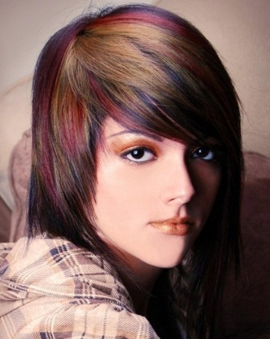 Funky Colorful Hair Highlights 2014
