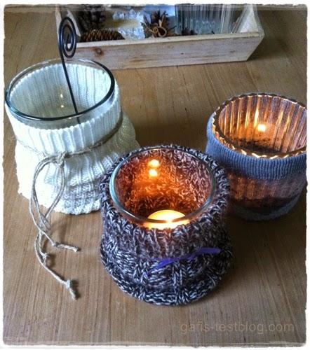 DIY - Teelichter mit Socken und Pulloverärmeln
