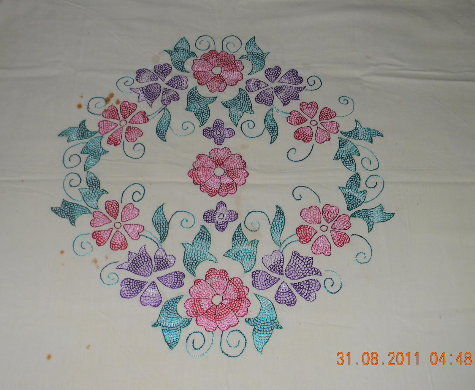 Outline embroidery designs for tablecloth - It S A Hand Embroidered Table Cloth
