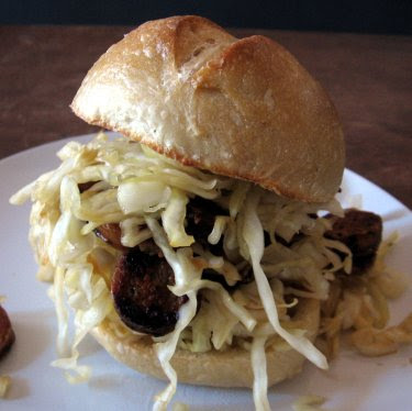 Sausage, sourdough, & sauerkraut sandwich