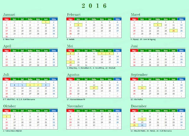 Kalender Tahun 2016, Hari Libur Nasional dan Cuti Bersama