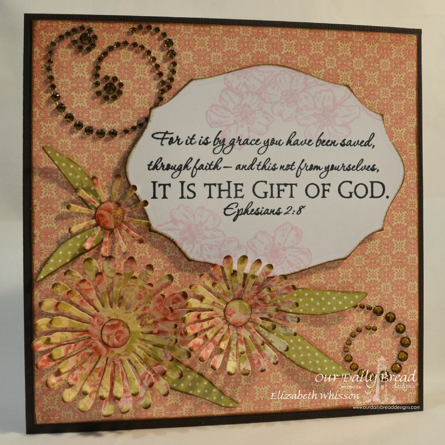 Elizabeth Whisson, Our Daily Bread Designs, handmade card, Ephesians 2:8, bible verse, ODBD Asters and Leaves Dies, Scripture Collection 2, ODBD Elegant Oval Dies, Cherry Blossom, ODBD Blushing Rose Collection