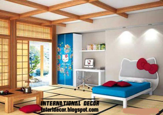 Hello Kitty Bedroom Themes And Furniture Style For Modern Girls Room With Coffered Ceiling
