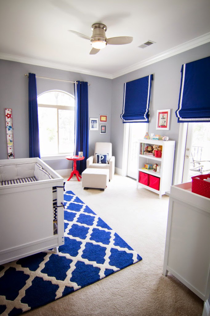 boy's nursery blue white red