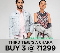 Buy ANY 3 @ Rs. 1299 – Jabong