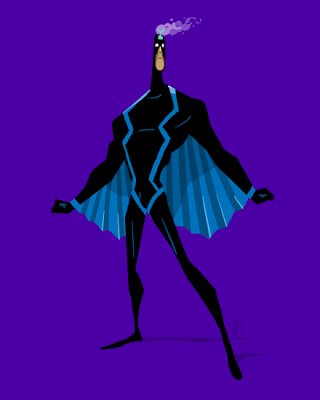 Black Bolt of Marvel Comics' Inhumans, in an animated character design style by Joey Mason
