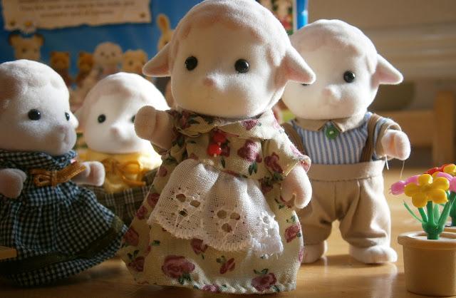 beautiful traditional dressed sylvanian sheep family