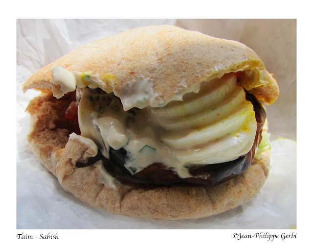 Image of Sabish sandwich at Taim in NYC, New York