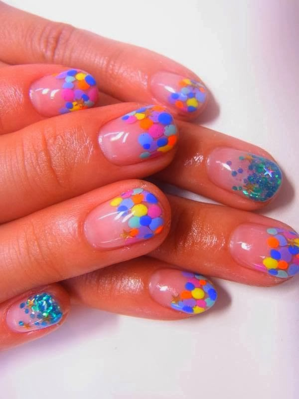 Clear crystal tip acrylics  natural cover pink gel with big dot neon pastel colors and big dot glitz teal blue feats