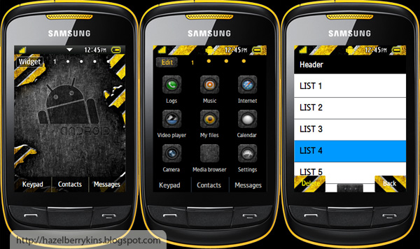Android yellow samsung corby 2 theme