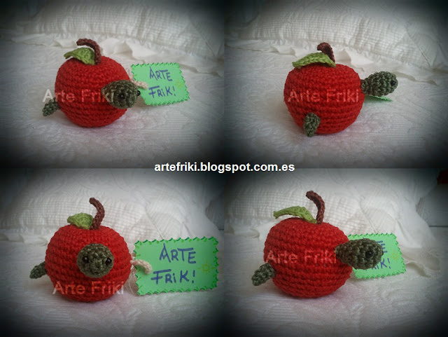 manzana con gusano amigurumi apple crochet ganchillo