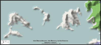 Mapa de relieve de la Isla Chacachacare, Isla Monos y la Isla Huevos  (Isla de Trinidad y Tobago)