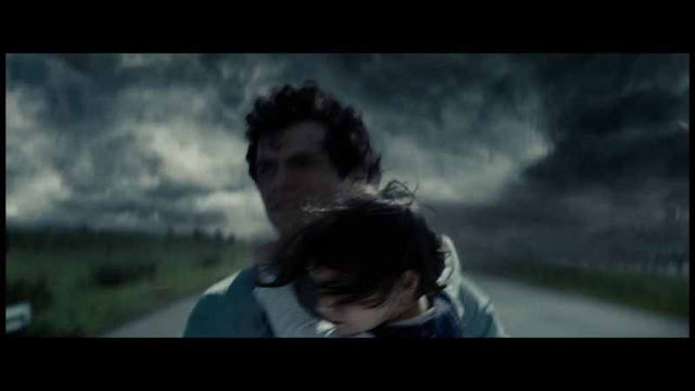 Man of Steel Clark Kent Saves Boy tornado dust storm clouds