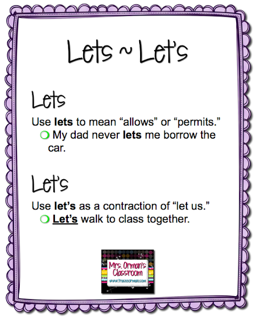 Lets/Let's Grammar Usage Tips from www.traceeorman.com