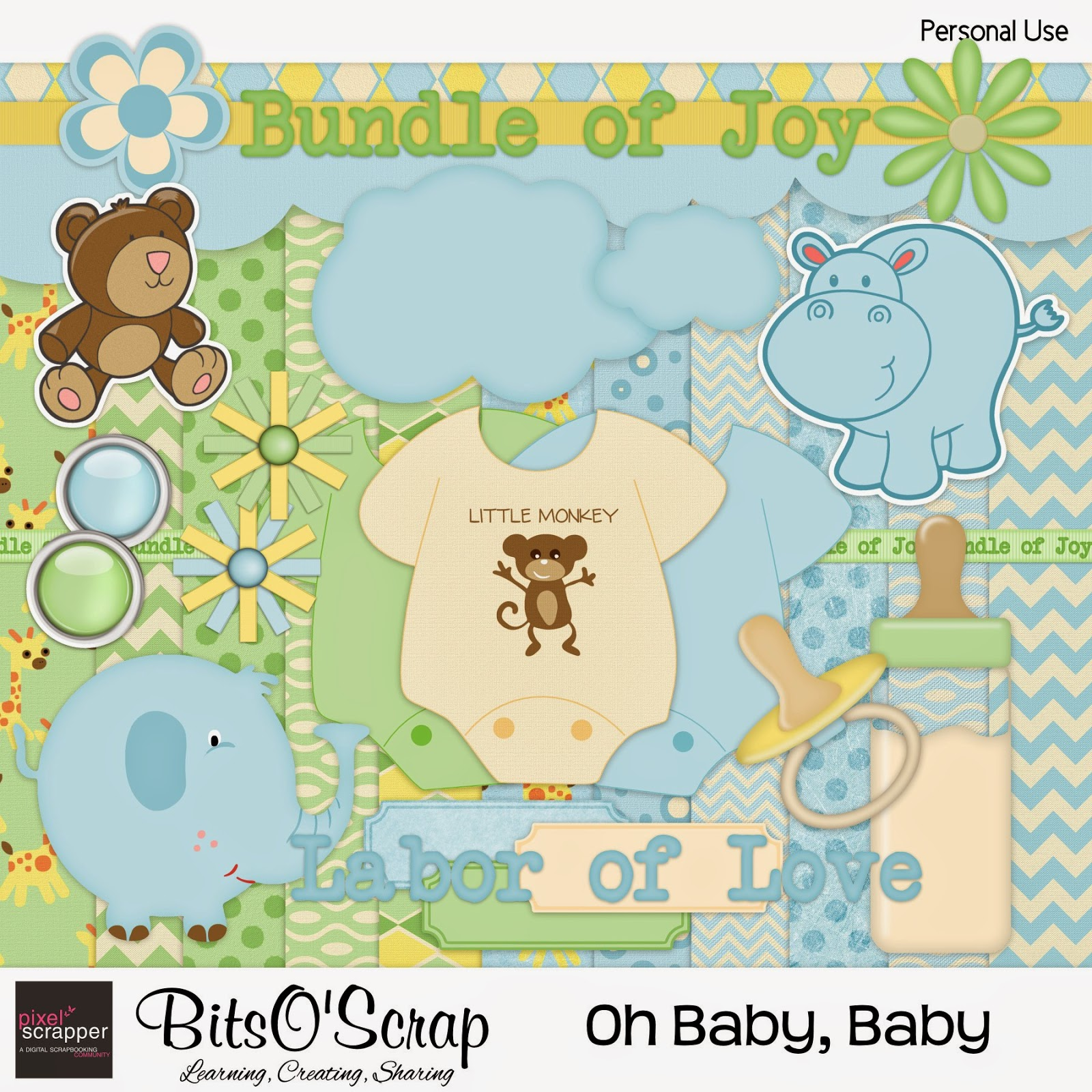 "Free scrapbook ""Oh Baby, Baby"" (boy) from Bits O Scrap"