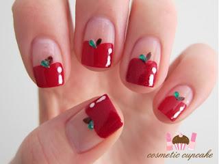 unhas decoradas frutas maçã