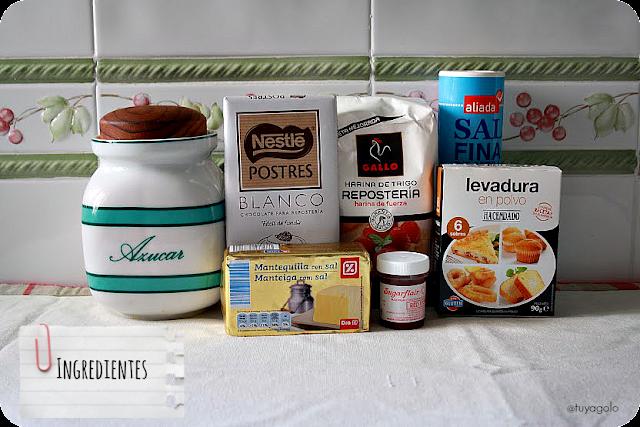 Ingredientes para hacer Red Velvet Cookies (faltan los huevos y cacao en polvo)