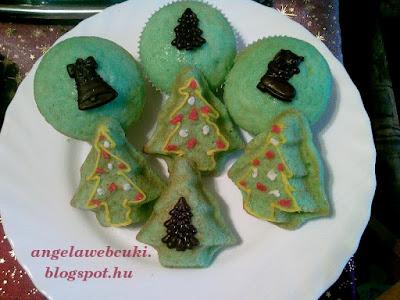 Zöld muffin, karácsonyi sütemény, fenyőfa alakú, mandula aromás tésztával, csokoládé lapokkal, esetleg marcipán ízű cukormázzal a tetején.