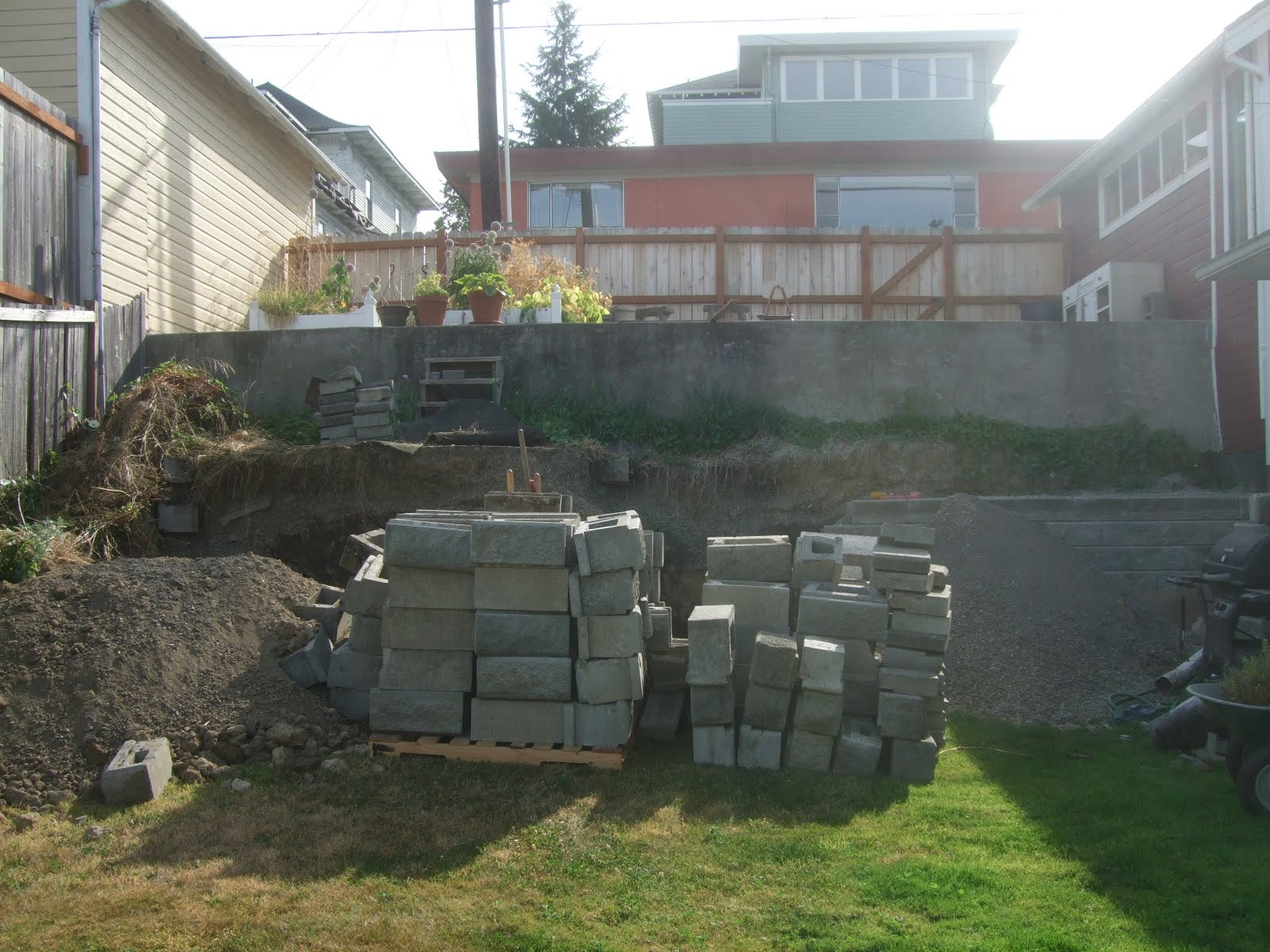 the smiths retaining wall backyard more progress