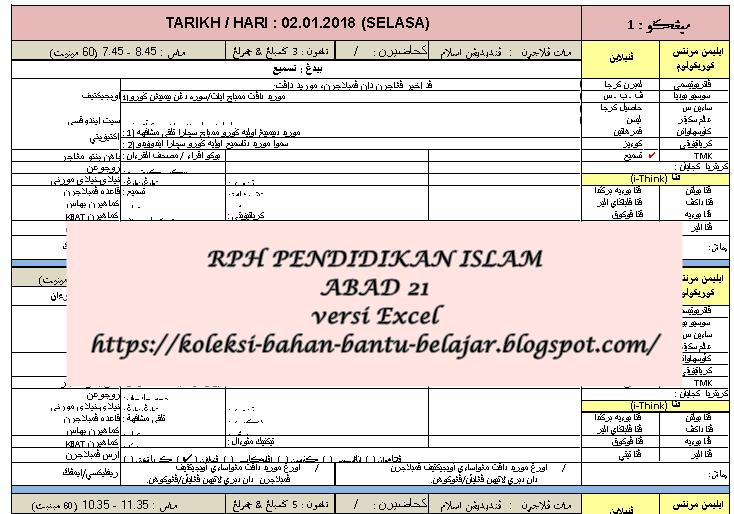 Rph Pendidikan Islam Abad Ke 21 Versi Excel
