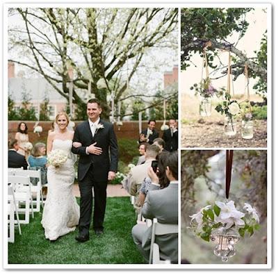 glas amplar, änga blommor i träd