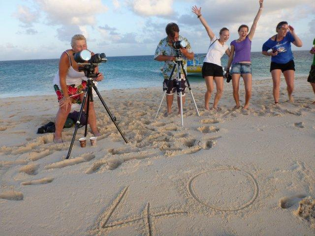 "Our little ""island"" and set-up for this 40th solar eclipse (Picture Ocean Safari)"