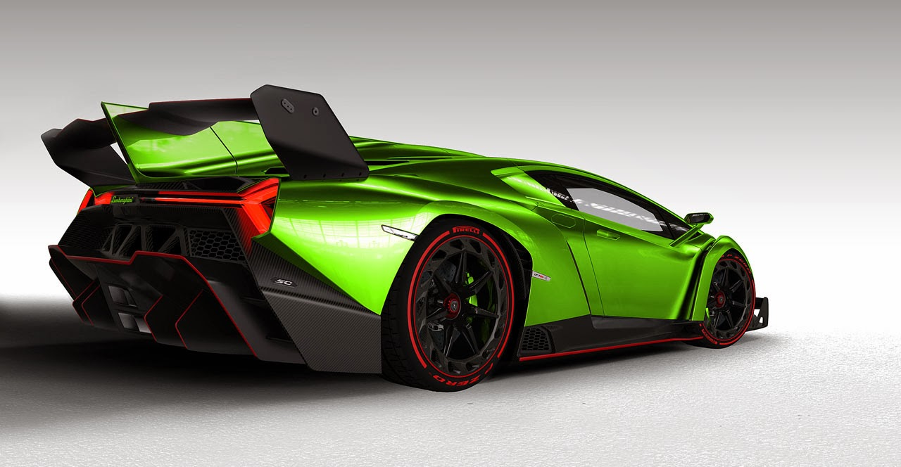 Lamborghini Veneno Roadster Green Back Side View : FOTO ...