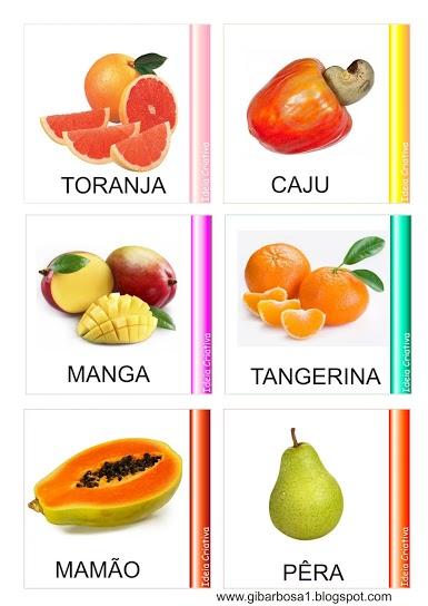 fichas com as frutas e seus nomes