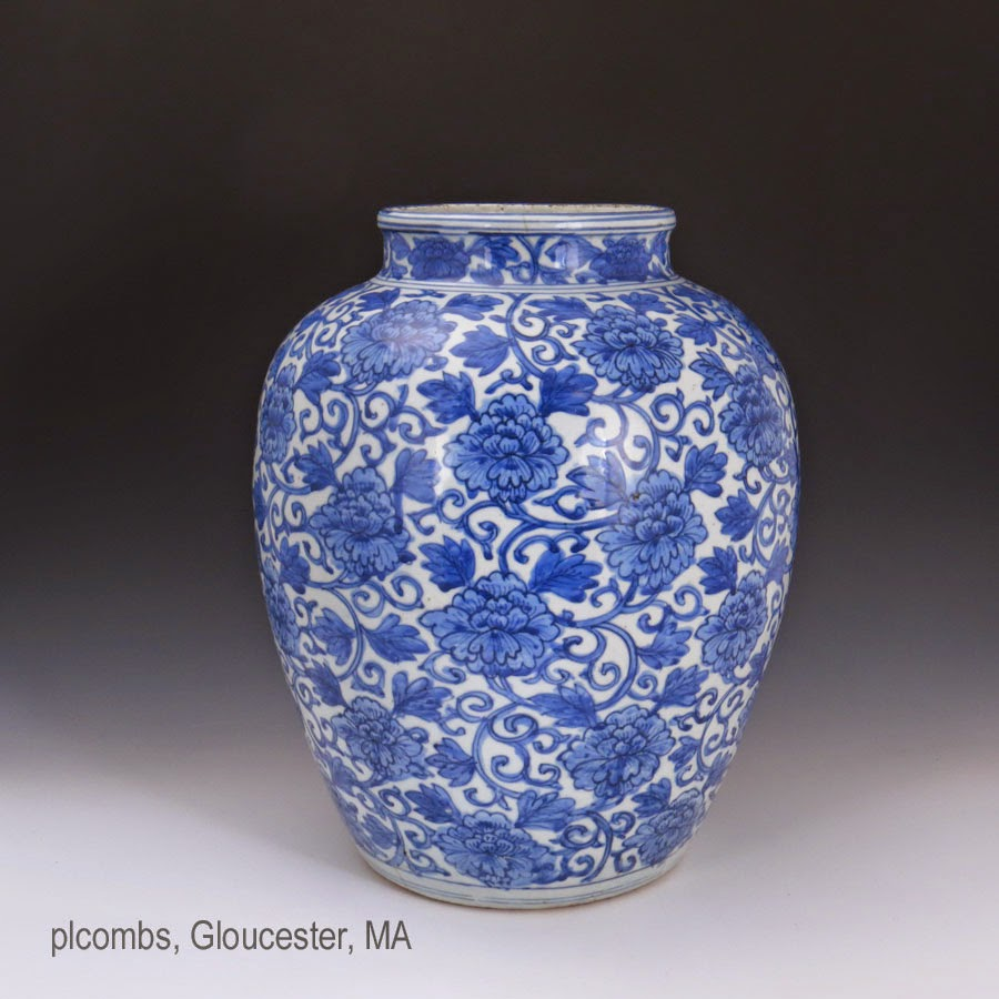 Ming Floral Decorated Jar or Guan