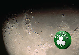 Boston Celtics Posters and Wallpapers. Boston Celtics Left Logo in Moon Shine Radiance background for the fans