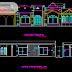 مخطط مشروع مسكن عائلي طابق أرضي بشكل مميز اوتوكاد dwg