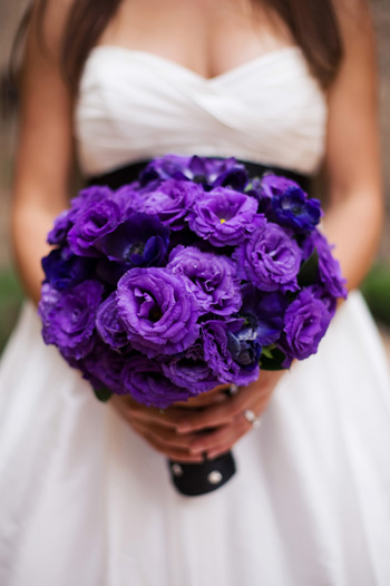 My first thought was Purple Lisianthus for the girls something like this
