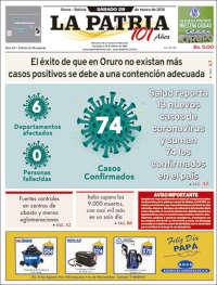 28/03/2020    UNA  PRIMERA PÁGINA DE LA PRENSA BOLIVIANA